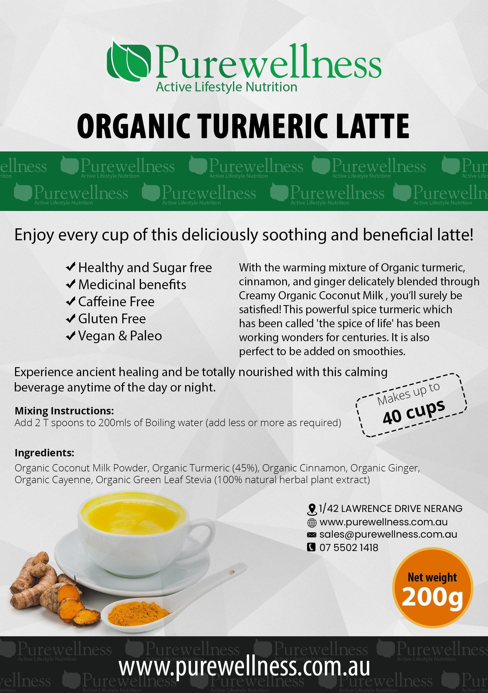 organic turmeric latte label