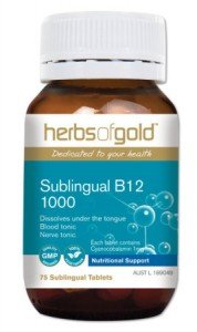 Herbs of Gold Sublingual B12 1000, 75 MELTS