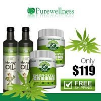 2X 500ml ORGANIC HEMP OIL 2X300G PUREWELLNESS VITAL ENERGIZER LEMON GREENS COMBO