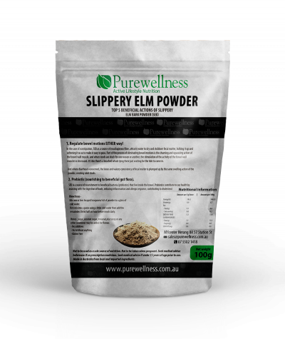 A green and white bag of slippery elm powder
