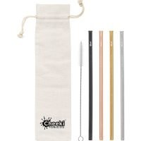 CHEEKI Stainless Steel Straws -Straight  All Colours + Cleaning Brush 4