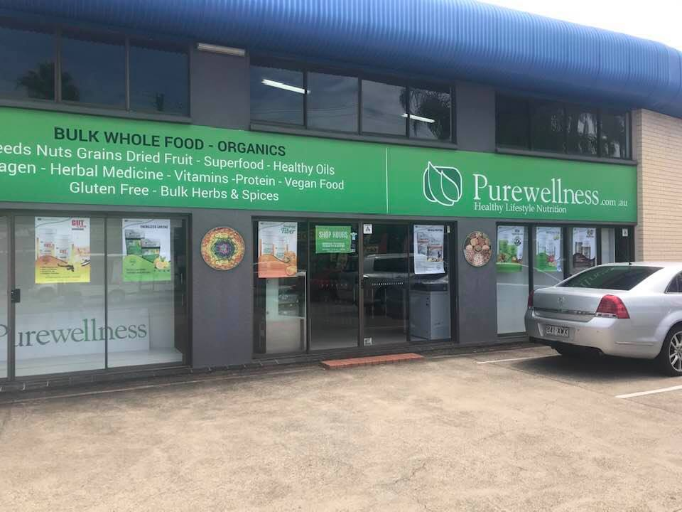 storefront, pure wellness health food store