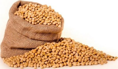 a hessian bag of soy beans